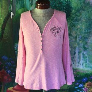 Harley Davidson Women's Pink Long Sleeves Knit Top
